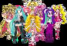 Lucia Nanami, Miku Hatsune, Shiny Luminous, Aria Blaze, Cure Peach, Teto Kasane, Cure Sunshine & Cure Melody