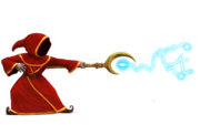 Concept Art of wizard attacking with a stave