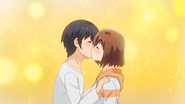Kouta and Aki kissing