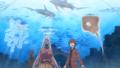 Liliana and Tatsuya in an aquarium