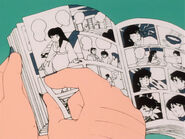 UY episode 57 Lum's father reads pages 174 & 175 (12 & 13) of the Maison Ikkoku comic book (Chapter 19)