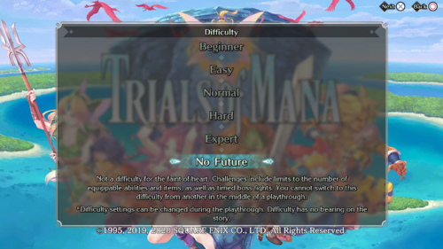 No Future difficulty level being selected at the beginning of a new playthrough.