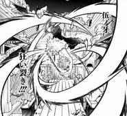 Inosuke Hashibira usa la Quinta Zanna nel manga