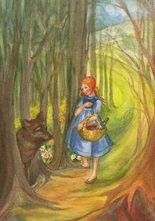 Postkarte Rotkaeppchen gr