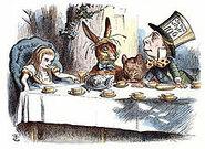 220px-John Tenniel- Alice's mad tea party, colour