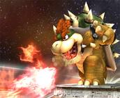Bowser lazando una bola de fuego en Super Smash Bros