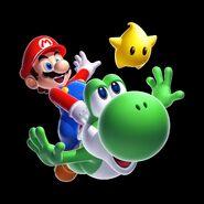 SMG2 Artwork Mario und Yoshi