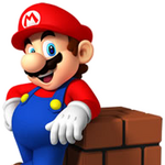 Mario leaning at Brick Block.png