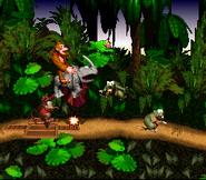 Rambi defeating Gnawties - Jungle Hijinxs - Donkey Kong Country