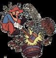 DK ColecoVision Mario Breaking Barrel Using Hammer Artwork