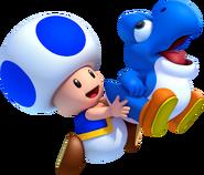 NSMBU Artwork Blauer Toad und Blubber-Baby-Yoshi 2