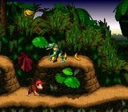 Diddy beneath Kritter - Jungle Hijinxs - Donkey Kong Country