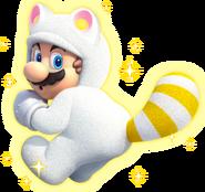 SM3DW Artwork Weißer Tanuki-Mario