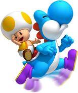Toad amarillo y Yoshi azul