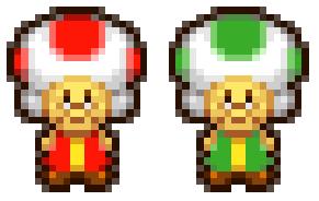 Abuelas Toad Roja y Verde