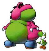 Yoob (sozusagen ein Frankenstein-Yoshi) und nebendran Yoshi