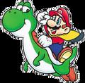 Mario Cape et Yoshi - SMW (illustration)