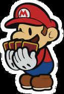 PMCS Artwork Papier-Mario hält Kampfkarten
