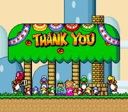 Luigi, Princess Peach, and the Yoshis at Yoshi's House..png