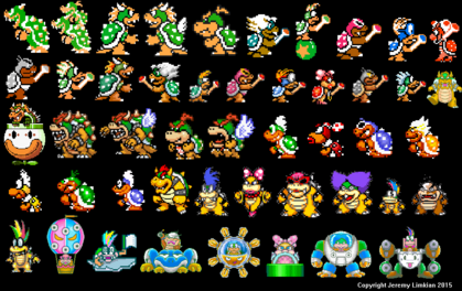 Bowser, Bowser Jr. And The Koopalings (Super Mario Bros., Super Mario Bros. 3, Super Mario All-Stars, Super Mario World, Mario And Luigi - Super Star Saga, Yoshi's Safari, And Super Mario Maker).png