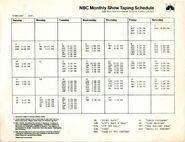 NBC February 1985 Taping Schedule