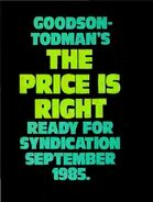 Goodson-Todman's The Price is Right Ready for Syndication Septemer 1985