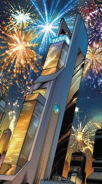 Torre Stark (Columbus Circle, Reconstruída) de Avante, Vingadores Vol 2 1 001.jpg