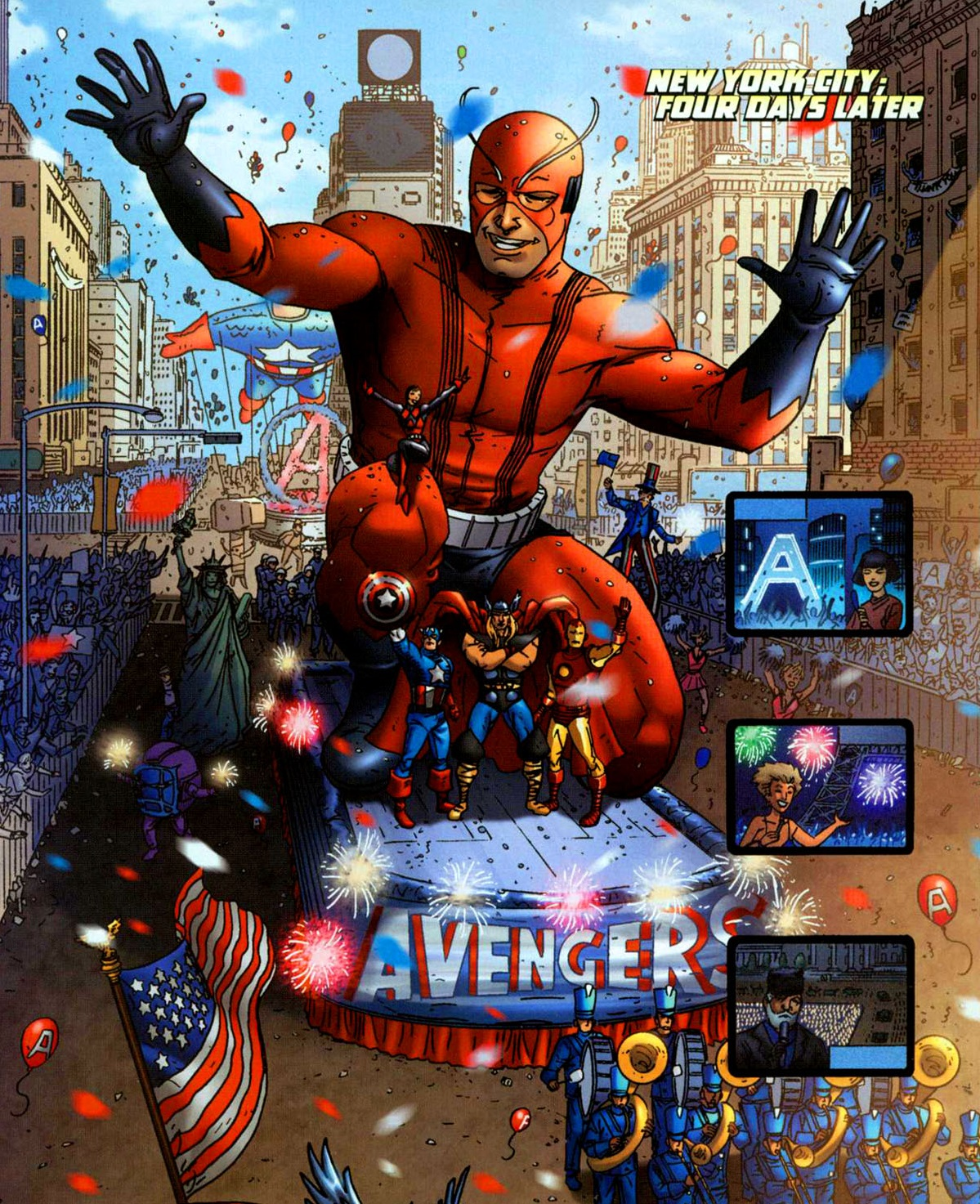 Avengers (Earth-616) parade thrown in the Avengers honor following the defeat of Kang from Avengers Earth's Mightiest Heroes Vol 1 4.jpg