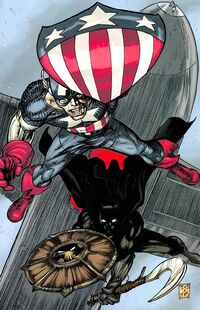 Black Panther- Flags of Our Fathers Vol 1 4 Captain America and Black Panther with shields.jpg