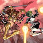 Aldrif Odinsdottir (Earth-616) and Gamora (Earth-616) from Guardians of the Galaxy Vol 3 10.jpg