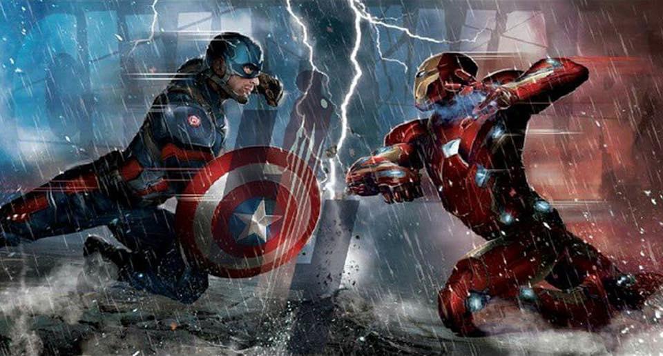 The War Knight/Concepto de arte de Captain America: Civil War con los bandos de la guerra