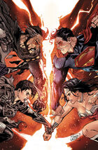 Faora and Zod battle Superman and Wonder Woman