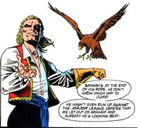 Bird used his animal companion Talon to scout out the Batman.