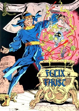 Faust is a magician with a history of backhanded tactics which he uses to obtain more and more knowledge.