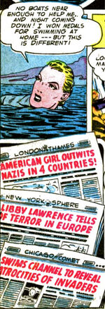 Libby swims the English Channel.
