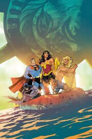 The cover for Justice League Volume 4 #32. Depicts Superman, Wonder Woman, and Batman on a raft being paddled by Kamandi. Behind them is the toppled, dilapidated Statue of Liberty.