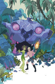 """The cover of """"The Kamandi Challenge"""" issue 3. Depicts Kamandi and the plant-girl Vila on alert in a jungle, with a statue of a panther behind them."""