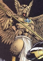 Northwind flying, holding a spear