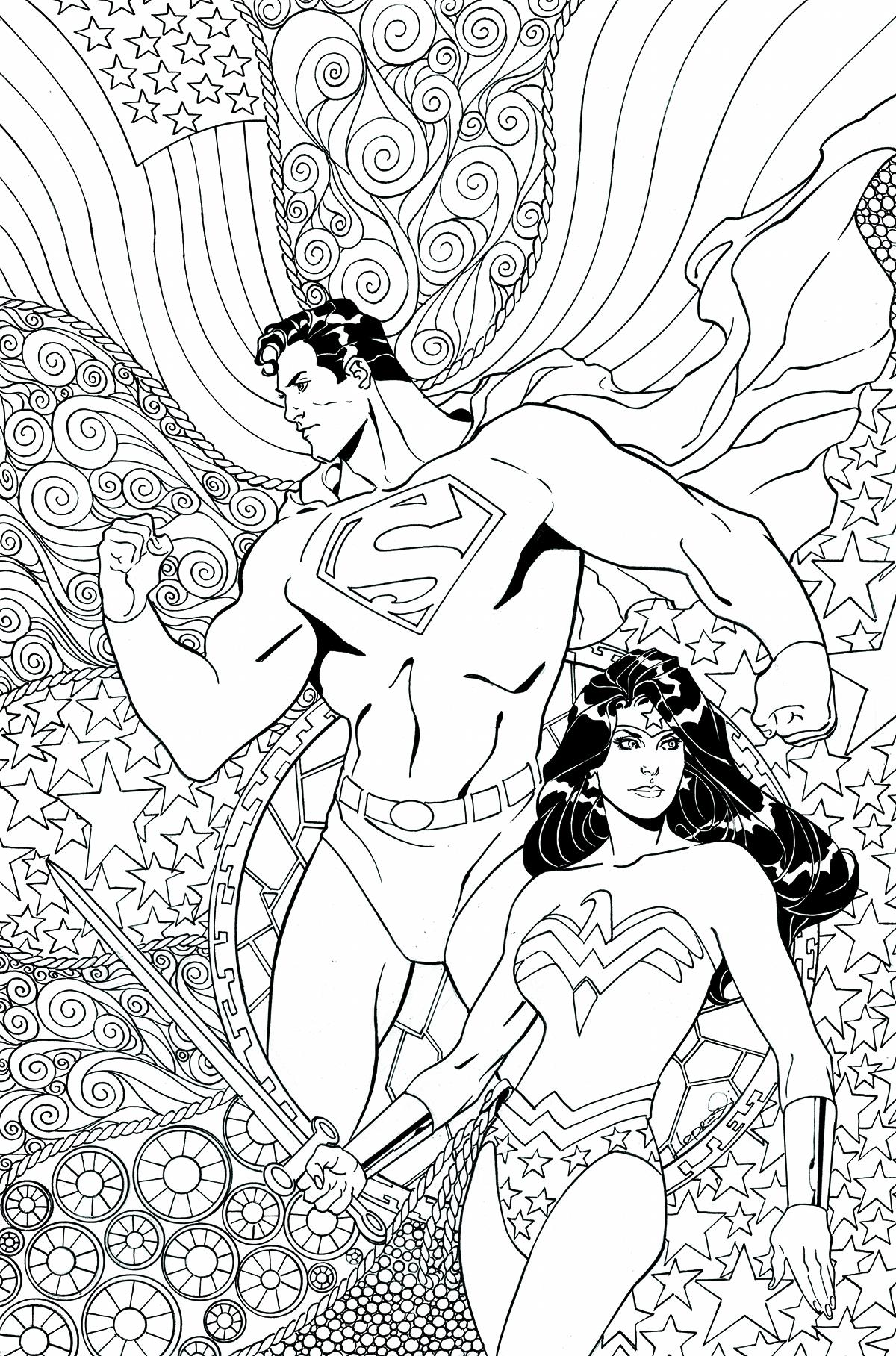 Superman Wonder Woman Vol 1 25 Textless Adult Coloring Book Variant.jpg