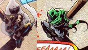 Charred remains of Wolverine tied to a post and Dr. Doom still alive also tied up on his knees