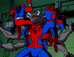 Scarlet Spider and Spider-Man are attacked by the recently mutated Man Spider