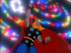 Thor opens a bridge of rainbows