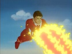 Sunfire using his flight and fire blasts
