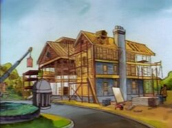 The mansion being rebuilt after the Juggernaut attack