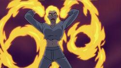 Firestar using her powers