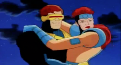 Cyclops thanks Rogue for saving Jean.