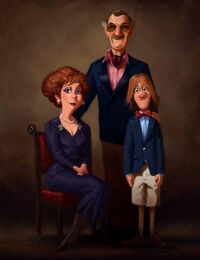 A portrait of Fred and his family