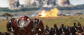 Vengadores y Wakandianos en campo de batalla