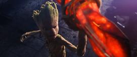 Groot con el Rompe Tormentas