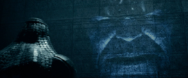 Ronan hablando con Thanos Holograma